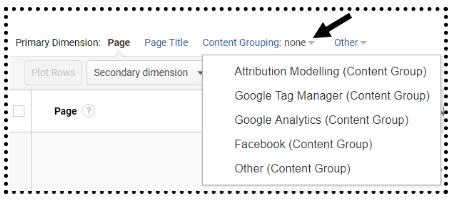 content grouping menu