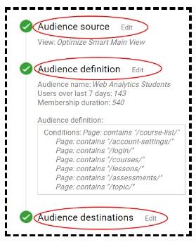 editing audience in google analytics