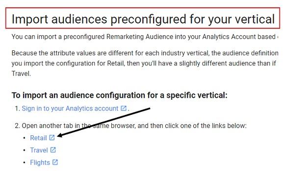 import preconfigured audience