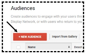 new audience button