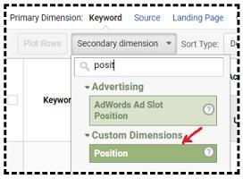 custom dimension position