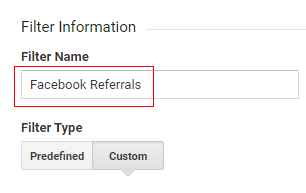 facebook referral traffic Filter name