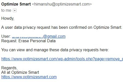 data privacy request confirmed
