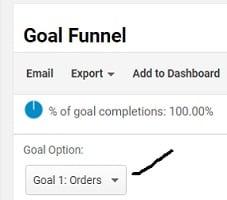 enhanced ecommerce tracking shopify goals drop down menu
