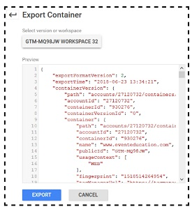 Importing - Exporting Container files in Google Tag Manager