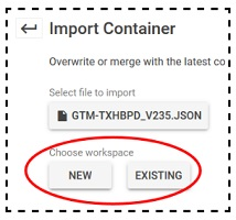 import container choose workspace