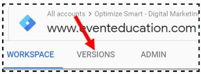 versions tab