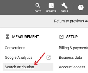 search attribution report google ads