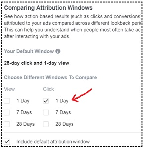 facebook sales conversion data 1 day click attribution window facebook
