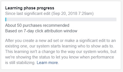 facebook sales conversion data learning phase