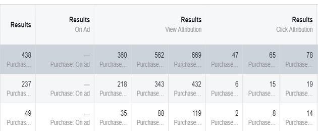 facebook sales conversion data results