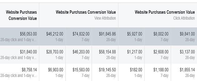 facebook sales conversion data website purchase conversion value