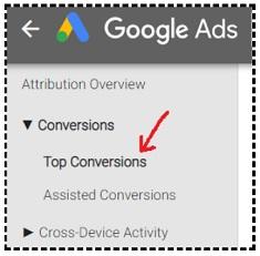 top conversions report