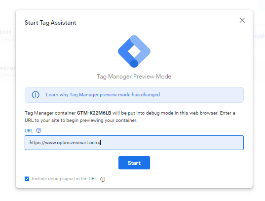 Enter URL in GTM Preview mode