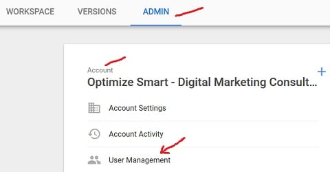 access to gtm account account user management