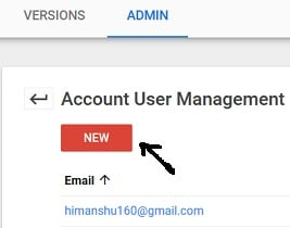 access to gtm account new button account