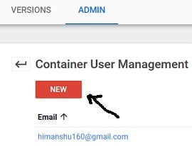 access to gtm account new user container level