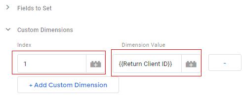 send client id gtm add dimension 1