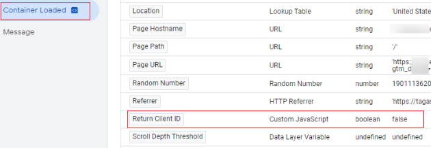 send client id gtm container loaded