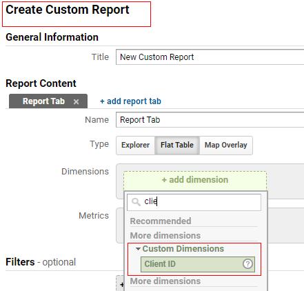 send client id gtm custom reports