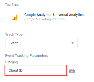send client id gtm event category