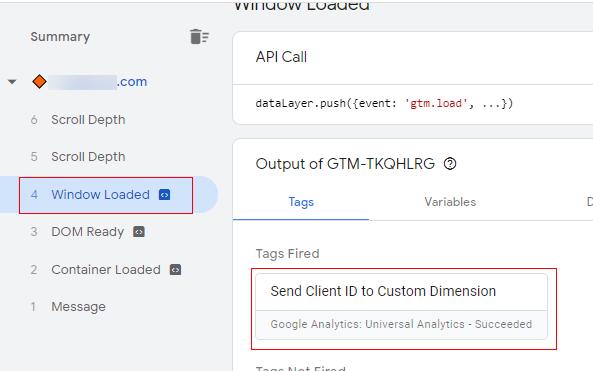 send client id gtm event firing