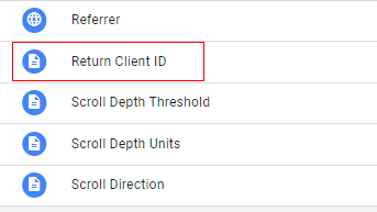 send client id gtm select variable 1