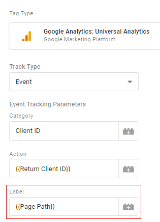 send client id gtm select variable 2