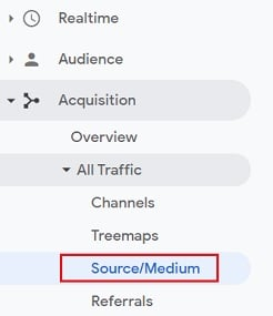 ga conversaion rate source medium report google analytics
