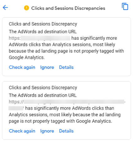 Clicks and Sessions Discrepancy details
