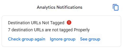 Destination URLs Not Tagged