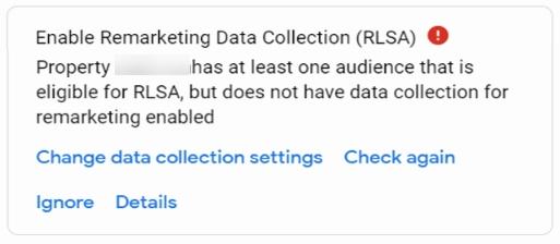 Enable Remarketing Data Collection RLSA