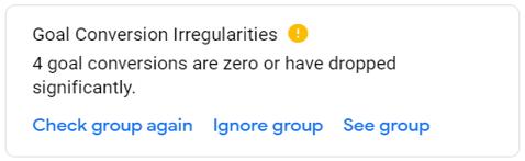 Goal Conversion Irregularities single notification