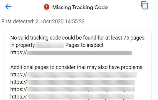 missing tracking code 1