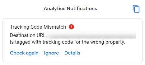 tracking code mismatch