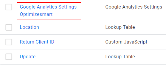 Analytics setting variable