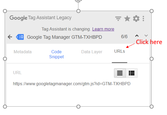 google tag assistant URL in Tag assistant