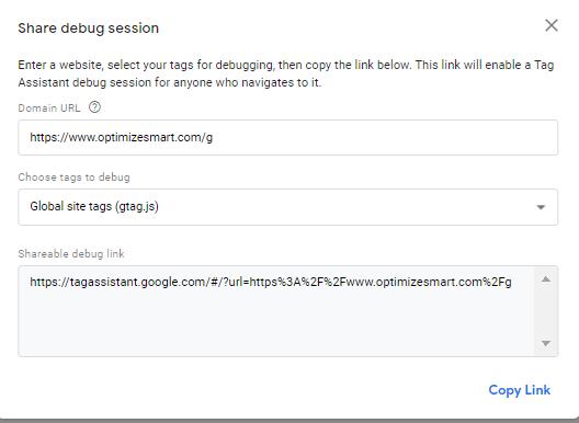 google tag assistant share debug session