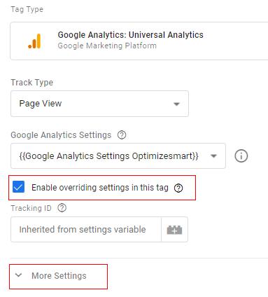 more settings GA tag