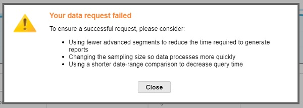your data request failed