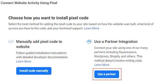 Connect Website Activity Using Pixel Use partner