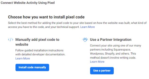 Connect Website Activity Using Pixel options