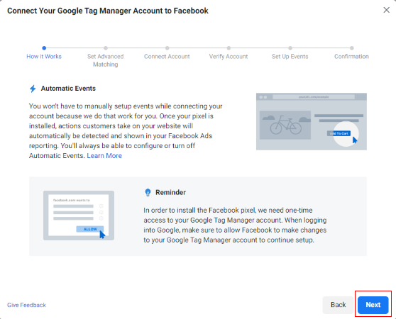 connect facebook with GTM