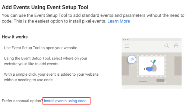 events using code