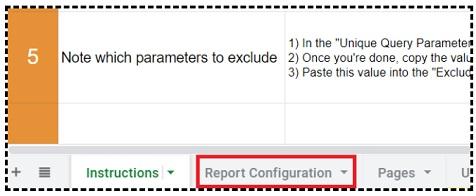 report configuration tab