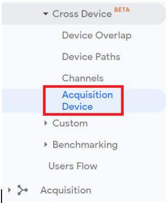 Navigate to the 'Acquisition Device' report