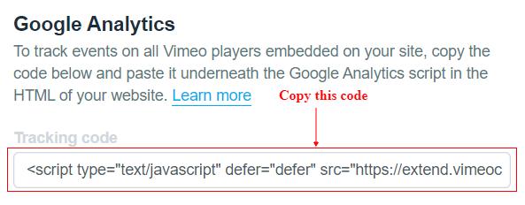 Vimeo tracking code