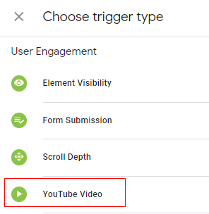 choose trigger type as youtube