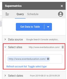 'Select Sites drop down menu