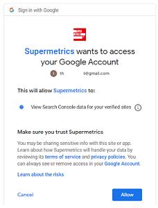 Allow supermetrics to view search console data